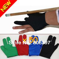 Free Shipping,New Lots Of 50 Billiards Pool Snooker Cue Shooters 3 Fingers Gloves
