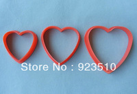 New 3pcs/set Plastic Heart Shape Cookie Cutter mold free shipping