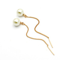 Wholesale Italina Rhinestone Crystal Simple Pearl Long Drop Earrings with 18K Gold Plated Free Shipping