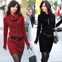 A194 free shipping 2013 women ladies new fashion autumn winter 4 color turtleneck long sleeve long design bodycon sweaters dress