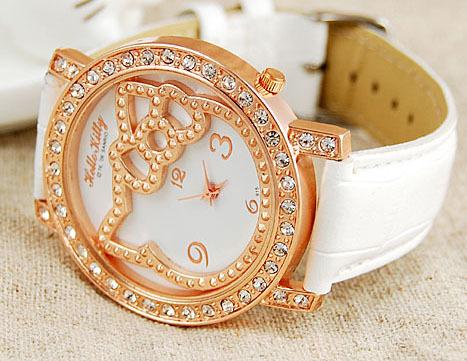 Wholesale Hello kitty watch.wrist Watch.Fashion watch.nice watch with crytal.Free shipping. 30pcs/lot(China (Mainland))
