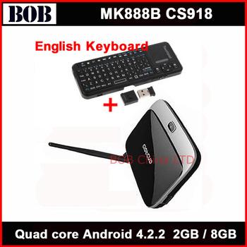 Bluetooth Rk3188 quad core tv box MK888B Android 4.2.2 OS 2GB / 8GB 28nm Cortex A9 CS918 + 2.4g wireless keyboard