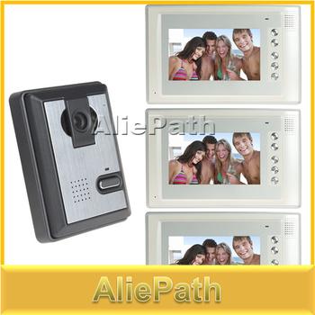 7 Inch Color Night Vision Video Door Phone Intercom Doorphone Doorbell System Kit with 1 IR Camera + 3 x Indoor Monitor