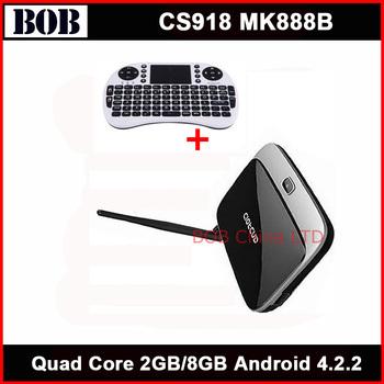 Bluetooth ! quad core tv box MK888B Android 4.2.2 OS 2GB / 8GB RK3188 28nm Cortex A9 CS918 + Wireless keyboard RII MINI I8