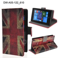 Hot Selling USA UK Flag PU Leather Stand Wallet With Card Slots Cover For Nokia Lumia 520 525 1PC Free Shipping 520 Case