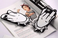 25pcs/lot,3D Creative Candies Black/White Fingers Style Silicone Soft Protective  Case For Iphone 5 Case, Mix Color