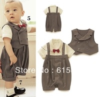 2013 Baby suit Gentleman baby suit:stripe vest+ short sleeves baby romper with bowknot