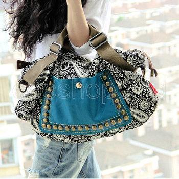 PP111 Women Ladies Vintage Prints Studded Rivets Travel Handbag Purse Shoulder Messenger Bags Tote Hobo Canvas Casual Wholesale
