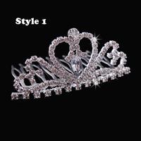2013 New Free Shipping 12pcs/lot Fashion Mini Children Kids Crystal Tiara Rhinestone Crown Wholesale Party Hair Accessories