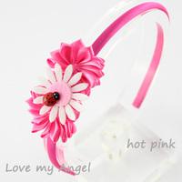 New Arrival satin ribbon flower hairband with cute felt animal Ladybug fabric flower hairband Girl hair Accessories 20pcs/lot