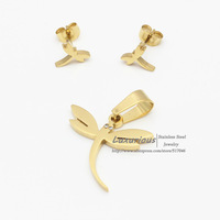 18K Gold Plating,Dragonfly style stainless steel set with CZ zircon Eye,Earrings And pendant,Hot Selling Top quality(T0031)