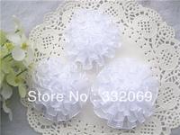 Diy handmade organza ribbon flowers white sheer flower 6cm decoration for head wear material 6 cm free shipping
