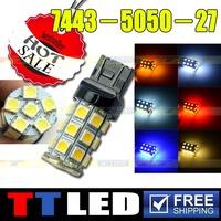 10 X 7440 7443 W21W T20 27 SMD 5050 Wedge led Car Brake Stop Reverse Turn signal LED bulb 12V amber led Free shipping #TD06