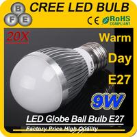 20pcs white/Warm White 9w E27 LED light High Power Bulb Lamp Spot lights Silver AC85-265