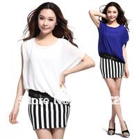 Sleeve  bat sleeve stripe mosaic Chiffon women dress  99199