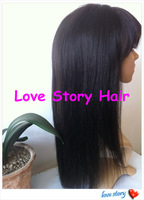 "Yaki 10-24""  Brazilian hair full lace wig with bangs free shipping"