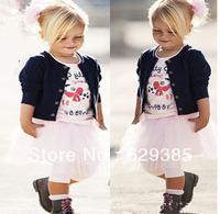 wholesale  5set/lot Newest  baby Infant kids Toddler Autumn spring 3 pcs set shirt +Tutu+sweater children Kid cloth  for1-5Y Kid