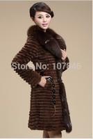 Autumn Ladies' Natural Rabbit Fur Coat Jacket with Fox Fur Collar Winter Women Fur Trench Outerwear Coats Plus Size VK1118