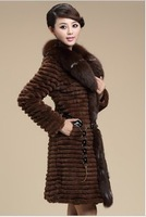 Autumn and Winter Ladies' Natural Rabbit Fur Coat with Fox Fur Collar Women Fur Trench Outerwear Coats Plus Size VK1118