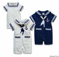 R016 Retail Baby Boy Sailor Rompers  Seaman Bodysuit Bebe Navy Costume Summer Short Sleeve Clothes Dark Blue/White 2 Colors