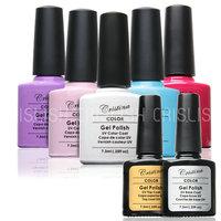 (Choose Any 5 Colors+1 Base Coat+1Top Coat )Crislish UV Gel Polish Soak Off UV Nail Gel Set Free Shipping