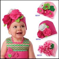 2015 New Flower Hats for Children Fashion Baby Newborn Photography Props Girls 100% Cotton Handmade Skullies Beanies Hat