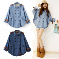 Women's autumn and winter spring and autumn cloak top denim outerwear loose overcoat autumn