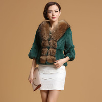 2013 High Quality Raccoon Dog Fur Collar Rabbit Fur Coat Female Short Design Three Quarter Sleeve Rabbit Fur Jacket ZX0222