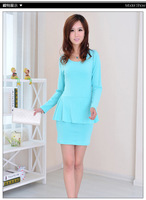 2013 New fashion autumn style Knee length comfortable Cotton colored One-piece Dress Ruffles patchwork Free size skirt Lady