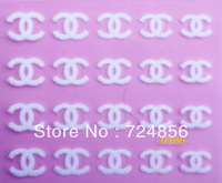 FreeShipping 100packs/lot 3D White series Velvet Nail Art sticker Flocking powder Stickers Decals Salon Express DIY 24 style