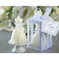 Free shipping Novelty household Party holiday gift  favors Candle wedding gifts wedding dress style candle for wedding favors