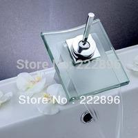 Brass Chrome Glass Waterfall Faucet For Bathroom Basin Mixer Water Tap Mixer torneira para banheiro torneiras monocomando