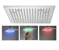 Romantic 16 inch Large Square Brushed Ceiling Over Head Shower ,Unique shower head LED Lighting