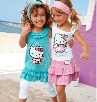 FreeVShipping 2014 New Fashion Baby Girls Summer Hello Kitty Suits Kids 3pcs Sets Headband+Dress+Pants Children Clothing Retail