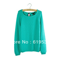FREE SHIPPING 100% COTTON LONG SLEEVE SLIM WOMEN SWEATER F21 O NECK LADY PULLOVER GREEN