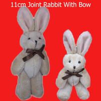 H=11cm Teddy rabbit bear bow tie rabbit joints cartoon bouquet doll plush toy pendant lanyard 40pcs