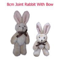 Wholesale <H=8cm 50pcs/lot> Teddy rabbit bear bow tie rabbit joints cartoon bouquet doll plush toy pendant lanyard