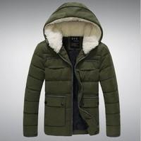 2014 Winter men's fur slim  cotton-padded down coat  with  fashio&casual jacket # JA042