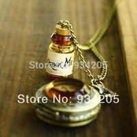Fantastic Hotsale Drink me Alice IN Wonderland Pocket Watch Long Necklace wholesale