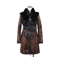 2013 Newest Winter Women's  Leopard Cat Fur Coat Fox Fur Coat  Leopard Printed  Female XLong Outerwear with Mandarin Collar