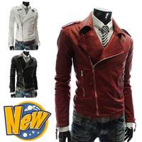 Men's Hot PU top New large size multi-zipper design for men leather coat 3 color 4 size 123037