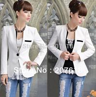 Korean New Women One Button White Collarless Tunic Suit Jacket Ladies OL Slim Blazer Coat Outerwear