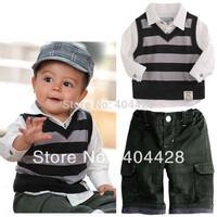 338# MOQ1 spring&autumn white T-shirt+striped vest+pant baby boy's clothing set  free shipping