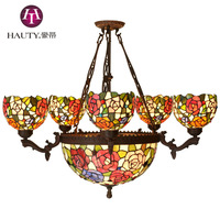 32 Inch Tiffany Lamp Chandelier Seven Branches Open Main Living Room Chandelier Lamp Chandelier Roses