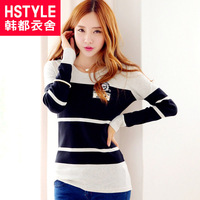 Hstyle 2013 autumn women's crude horizontal stripe slim long-sleeve T-shirt
