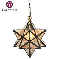 [HAUTY] 10 inch Tiffany glass shade chandelier decorated cafe pentacle pendant lamp
