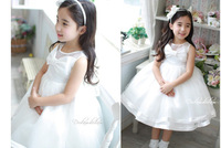 Elegant wedding baby costume/New arrived princess girls dress with white bowknot/Ball gown