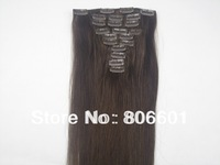 "10 pcs 180g #04 - medium brown clip in on full head remy real 100% human hair extensions Straight  20""22"" 24""26"" 28""30""32"""