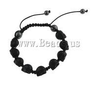 Free shipping!!!Turquoise Shamballa Bracelets,Celebrity, Natural Turquoise, with Wax & Non magnetic Hematite, Skull, black