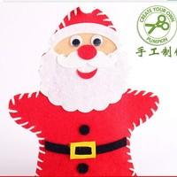 10PCS/LOT.Handmade santa hand puppet,Christmas crafts.Christmas toys,Christmas gifts.Kids toys.Xmas gift.Wholesale.Freeshipping